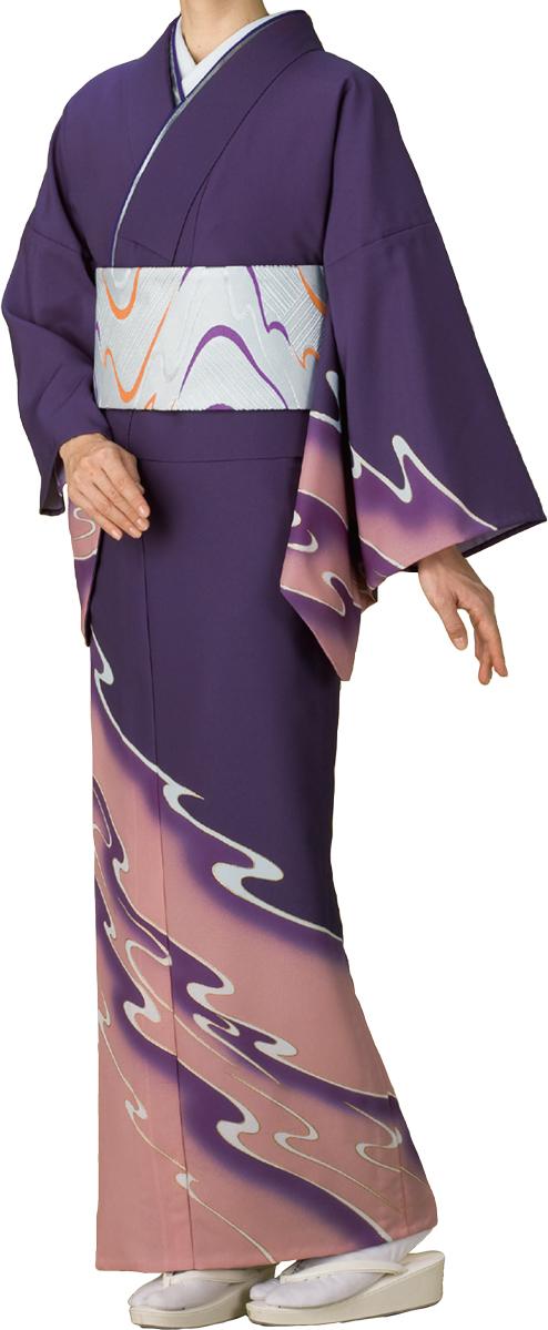 踊り衣裳 絵羽きもの 反物流線柄 紫地wOk08nP