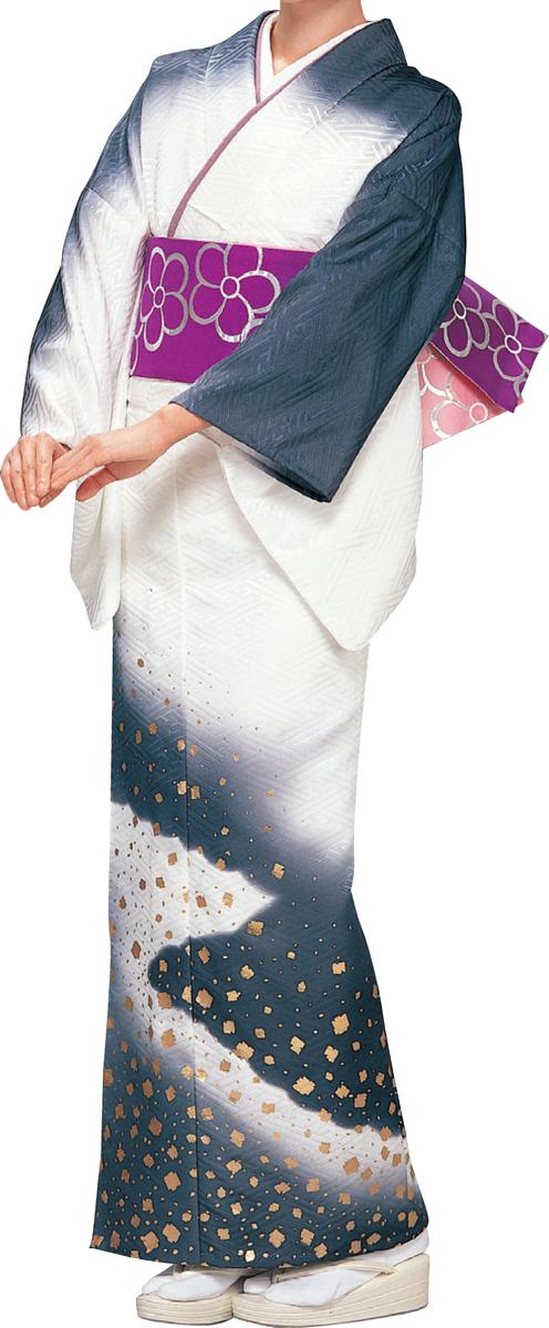 踊り衣裳 絵羽きもの【反物】 綸子サヤ型地紋切箔柄 黒・白ボカシ