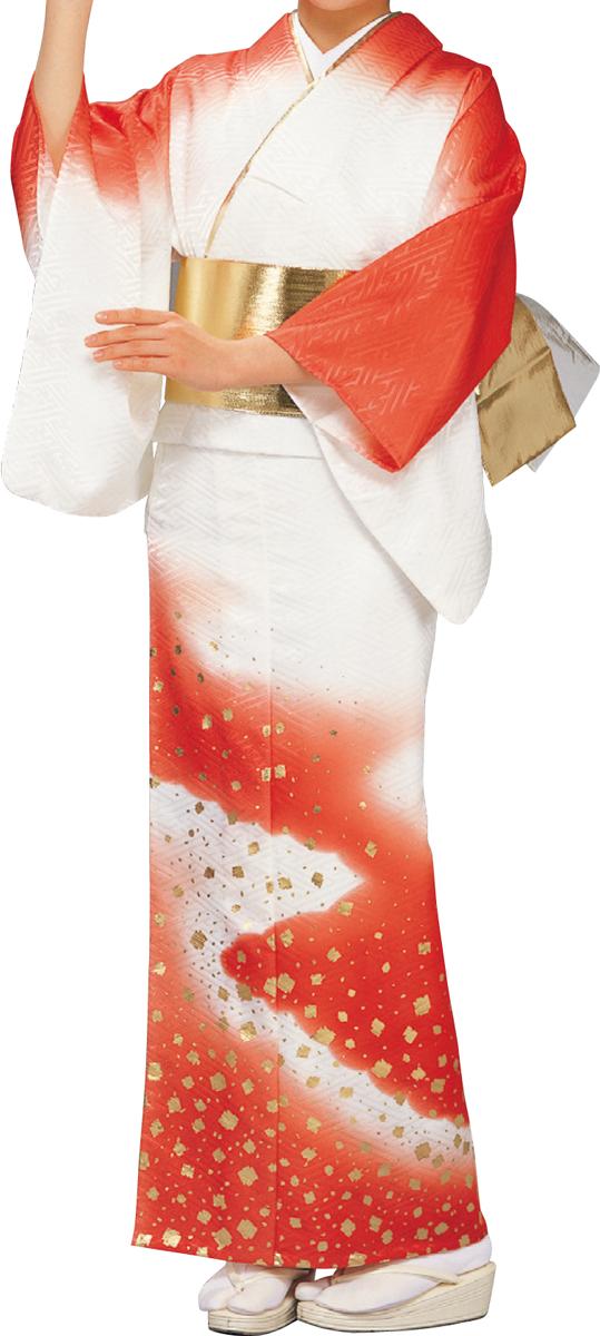 踊り衣裳 絵羽きもの【反物】 綸子サヤ型地紋切箔柄 朱・白ボカシ
