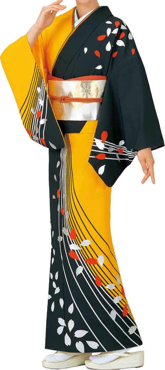 踊り衣裳 絵羽きもの【反物】 花びら柄 黒・黄色地