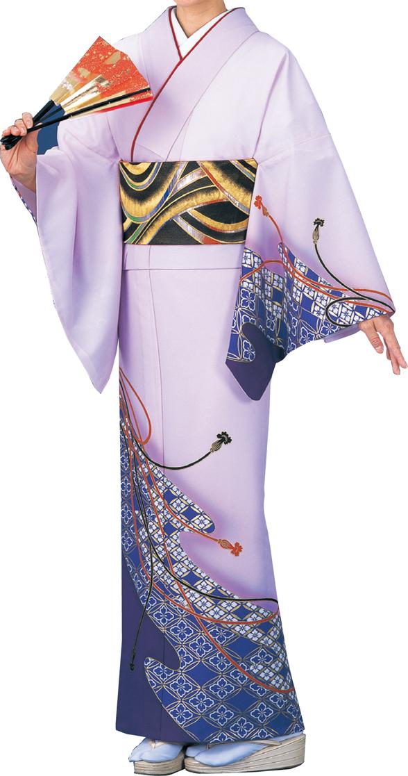 踊り衣裳 絵羽きもの【反物】 組み紐柄 薄紫色地