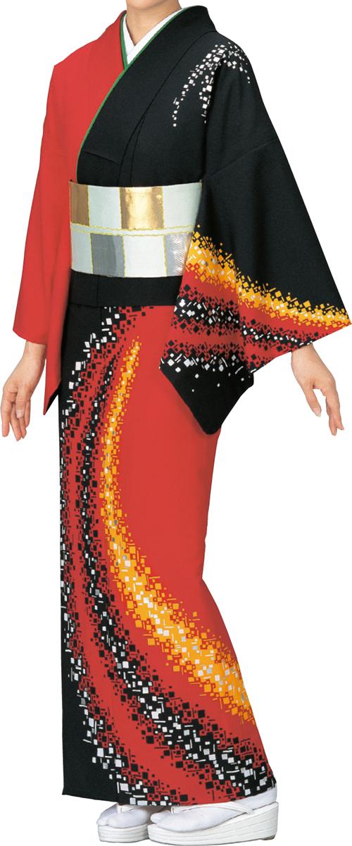 踊り衣裳 絵羽きもの【反物】 小角柄 黒・赤地