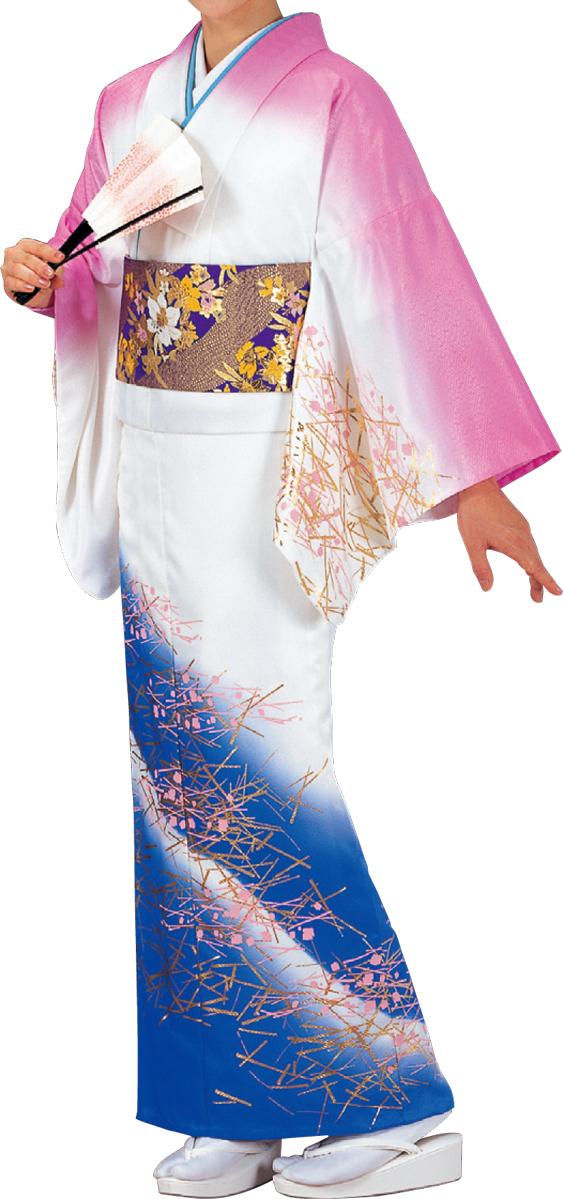 踊り衣裳 絵羽きもの【反物】 松葉柄 ピンク・白・群青ボカシ