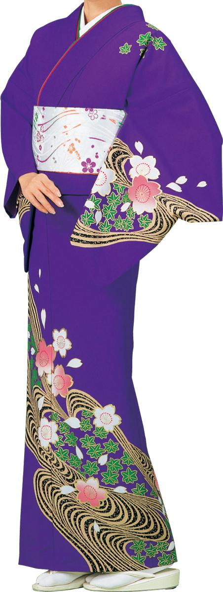 踊り衣裳 絵羽きもの【反物】 桜と紅葉柄 紫地