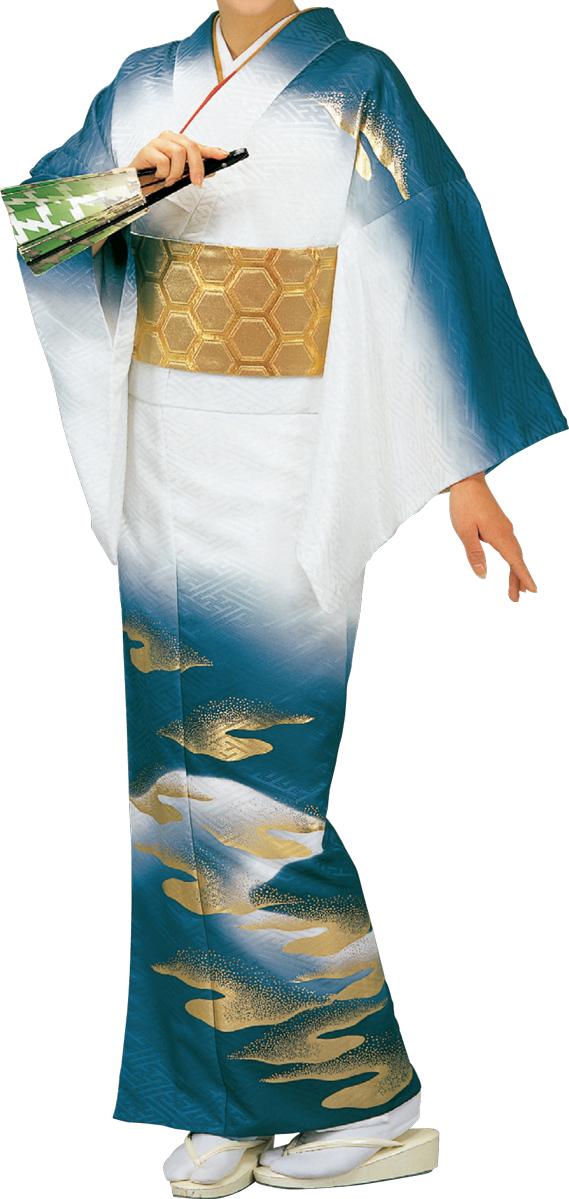 踊り衣裳 絵羽きもの【反物】 綸子サヤ型地紋雲柄 紺・白ボカシ