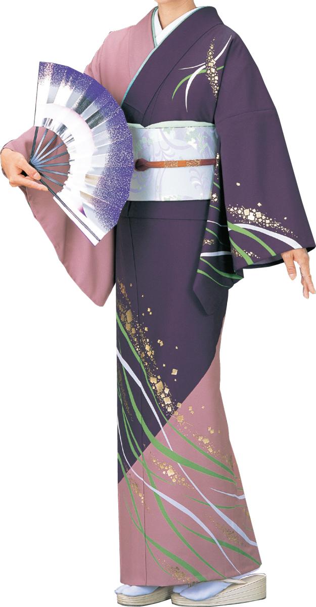 踊り衣裳 絵羽きもの【反物】 流線に切箔柄 紫地