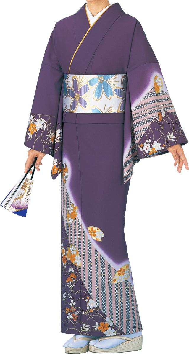踊り衣裳 絵羽きもの【反物】 竹とつゆ芝柄 紫地