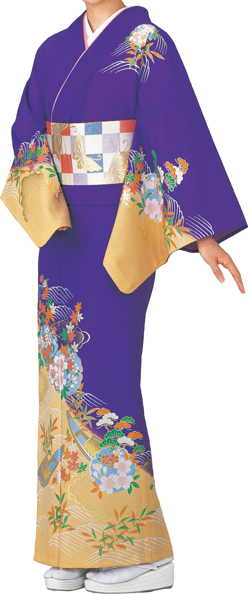 踊り衣裳 絵羽きもの【反物】 雪輪に花柄 紫地