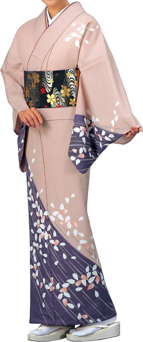 踊り衣裳 絵羽きもの【反物】 桜花びら柄 ピンク・紫地