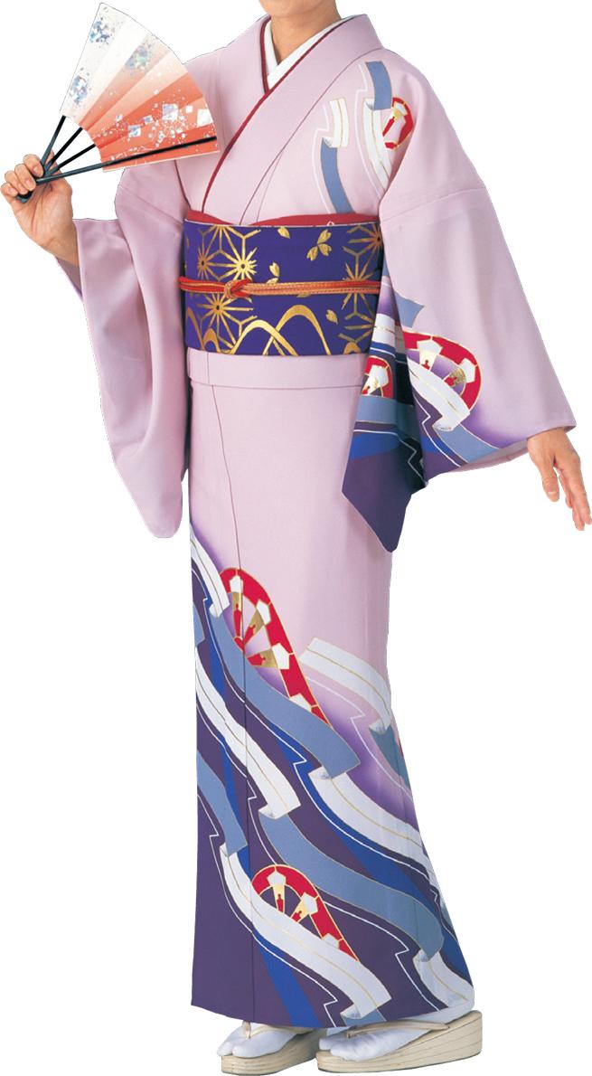 踊り衣裳 絵羽きもの【反物】 御所車柄 ピンク・紫地