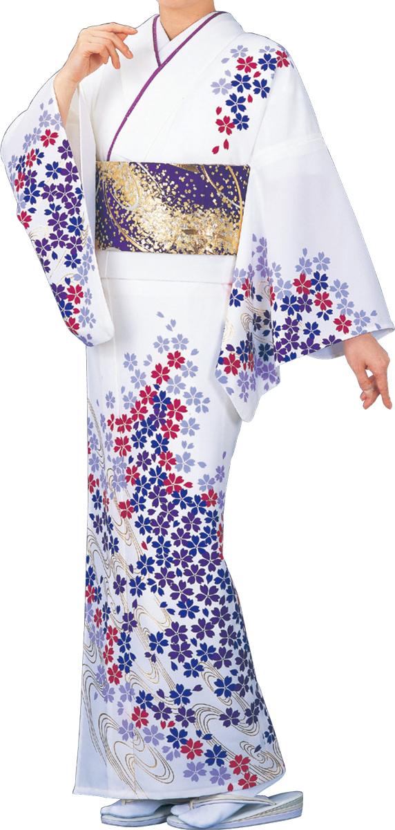 踊り衣裳 絵羽きもの【反物】 小桜柄 白地
