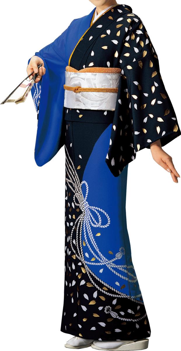 踊り衣裳 絵羽きもの【反物】 組紐に桜柄 青・黒地