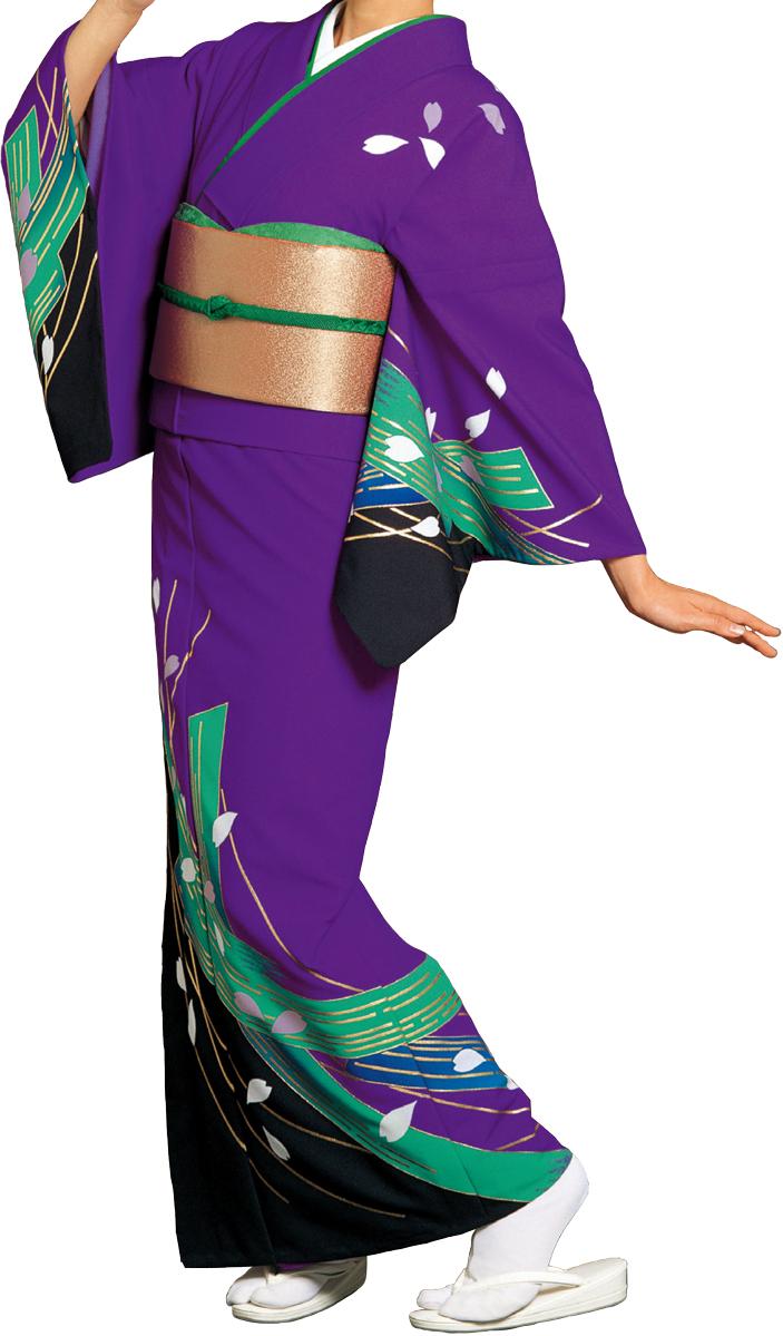 踊り衣裳 絵羽きもの【反物】 小桜柄 紫地