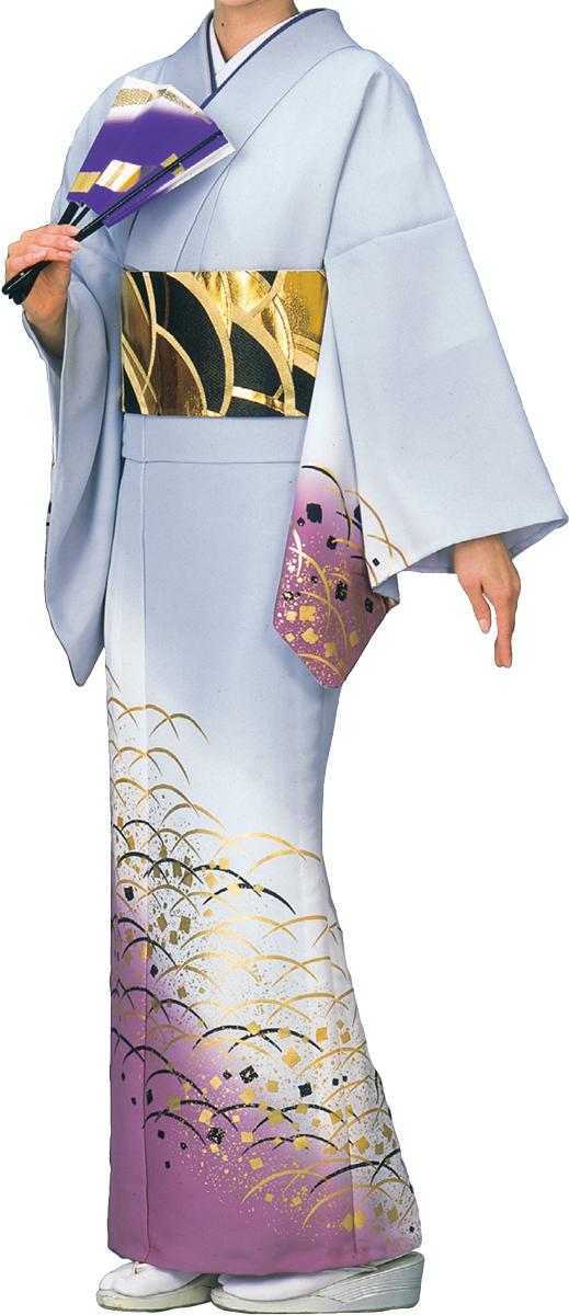 踊り衣裳 絵羽きもの【反物】 つゆ芝柄 グレー・紫ボカシ