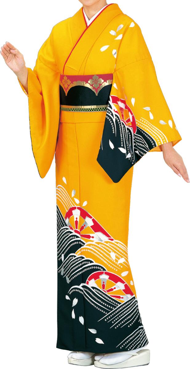 踊り衣裳 絵羽きもの【反物】 くずし源氏に波柄 黄色・黒地