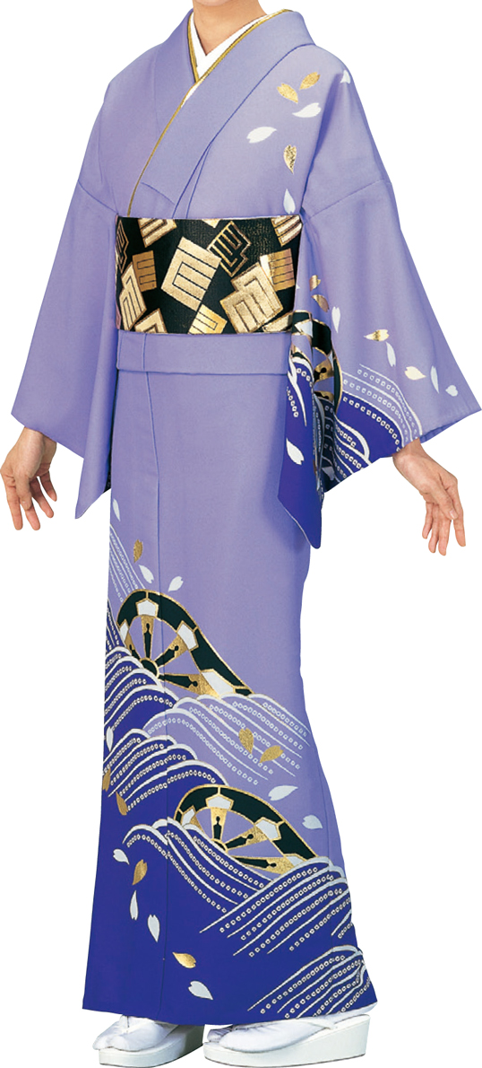 踊り衣裳 絵羽きもの【反物】 くずし源氏に波柄 薄紫・濃紫