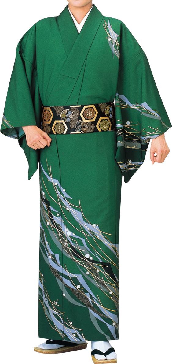 踊り衣裳 絵羽きもの 男柄 【反物】 水玉に流線柄 緑地