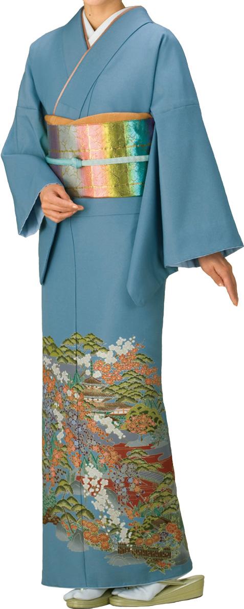 踊り衣裳 留袖絵羽きもの【反物】 山水柄 グレー地