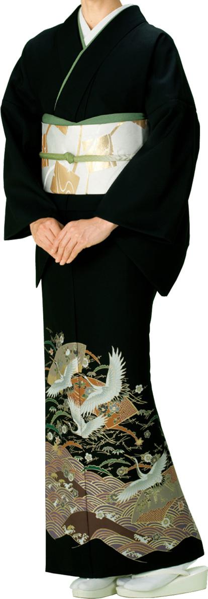 踊り衣裳 留袖絵羽きもの【反物】 鶴柄 黒地