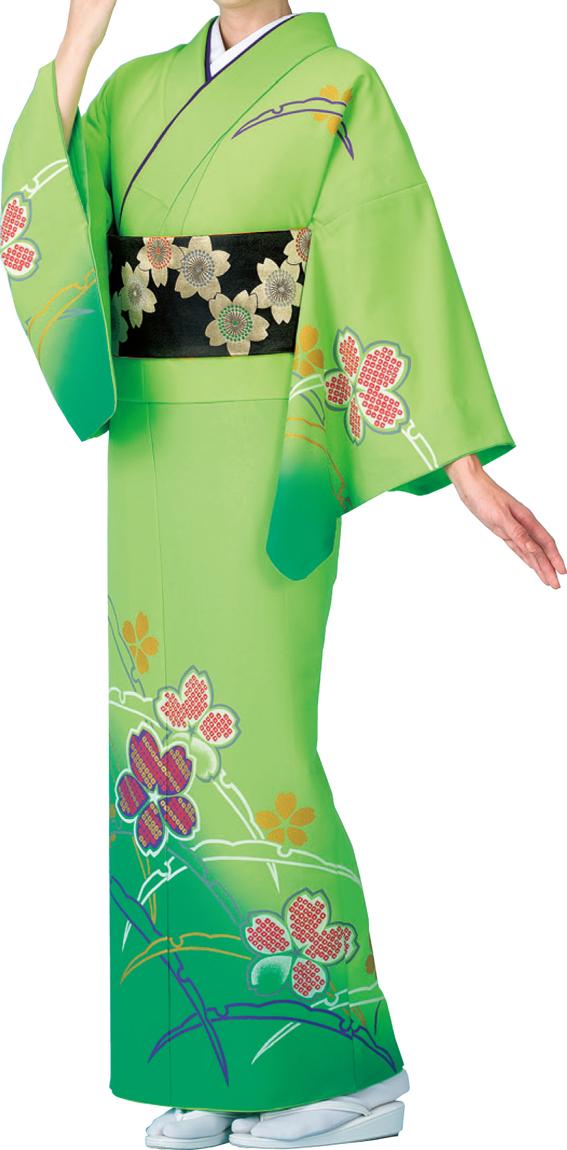 踊り衣裳 絵羽着物【仕立上り】 つゆ芝に桜 若草地