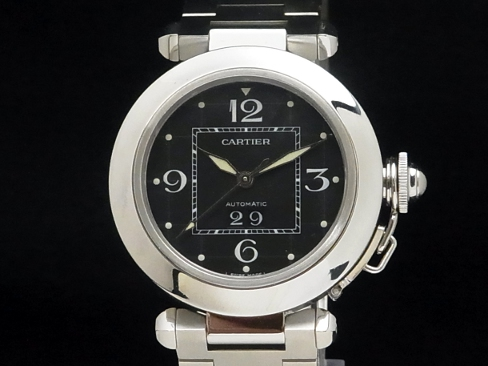 Cartier-CARTIER - Pasha C big date black dial SS/SS automatic ladies men boys