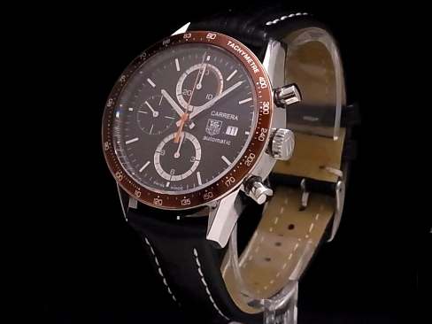 074d1131ea704 Tag Heuer - TAG HEUER - Carrera Chronograph CV2010 Brown dial Brown bezel  SS case   leather mens