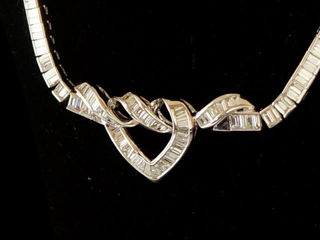【NEW】 ネックレス - Necklace - リボン ハート レクタンギュラー ステップカット フルダイヤ PT プラチナ 無垢 / ダイヤモンド (12.29ct)
