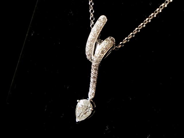 【NEW】 ネックレス - Necklace - ティアードロップ1Pダイヤ ネックレス ペンダント 18KWG (18金 ホワイトゴールド) / ダイヤモンド(1.67ct)