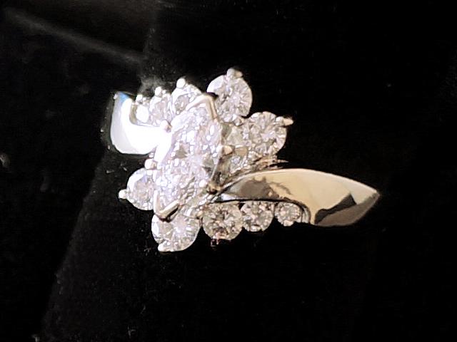 【NEW】 ダイヤモンドリング - RING - 1Pマーキス+10Pダイヤモンド リング  K14WG (14金 ホワイトゴールド) / ダイヤ (1.05ct) 指輪
