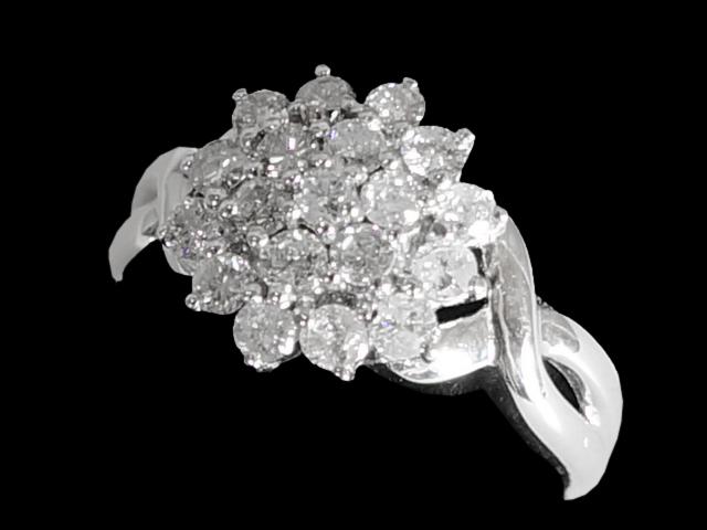 【NEW】 ダイヤモンド リング - RING - イタリア製  デザイン 19Pダイヤ WG ホワイトゴールド 無垢 / ダイヤ (1.52ct) 指輪