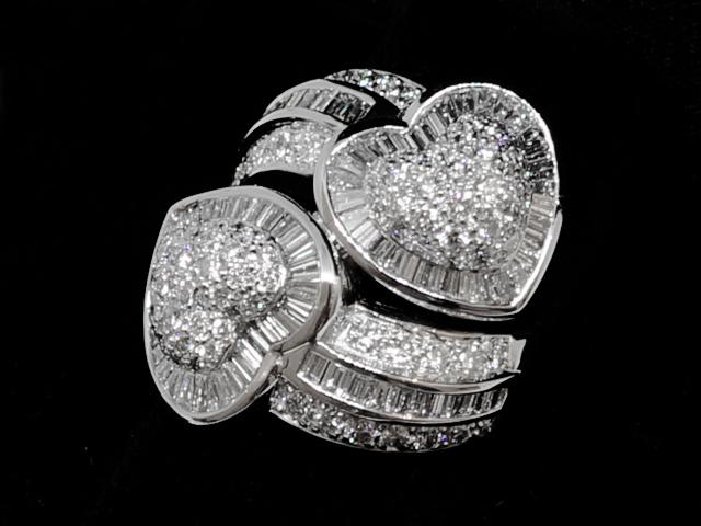 【NEW】 ダイヤモンド リング - RING - ダブル ハート テーパー フルダイヤ PT (プラチナ) / ダイヤ (4.35ct) 指輪