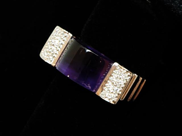 NEW アメジストダイヤモンドリング - RING レクタンギュラー アメジスト K18WG 0.13ct ダイヤ 指輪 8.27ct 16Pダイヤ 人気 メーカー再生品 おすすめ
