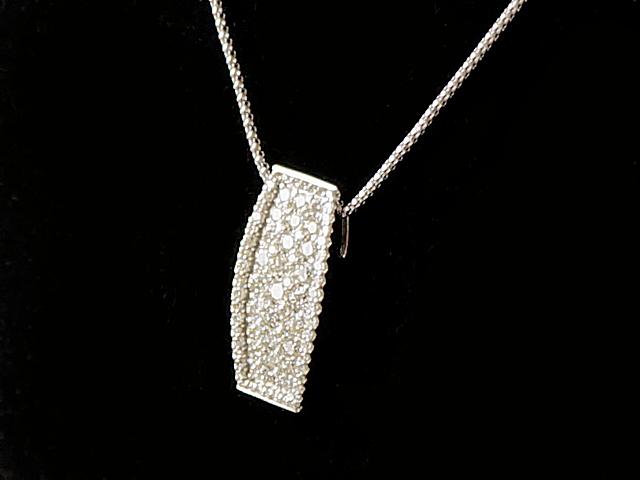 【NEW】 ネックレス - Necklace - レッタンギュラー スクエア パヴェ フルダイヤ WG ホワイトゴールド 無垢 / ダイヤ(2.00ct) ペンダント