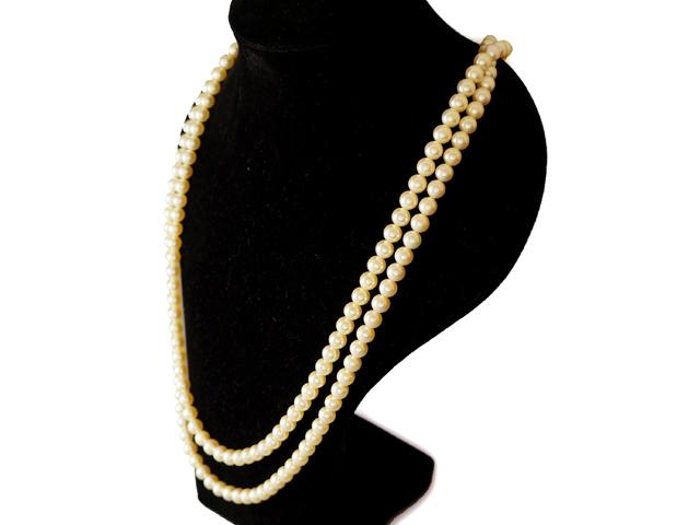 【NEW】 ネックレス - Necklace - 206粒 パール 6mm 2Pサファイヤ カボション + 3Pパール クラスプ 30&32cm ダブルラインネックレス WG ホワイトゴールド 無垢 / パール