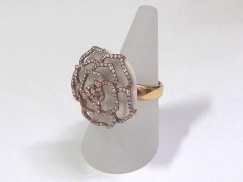Rose Design Ring 18 Kpg Pink Gold Diamond 0 80 Ct