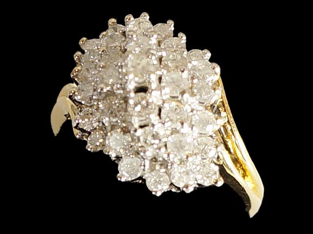 【New Finish】 ダイヤモンド リング - RING - 33Pダイヤモンド クラスター K14YG (14金 イエローゴールド) / ダイヤ (1.00ct) 指輪