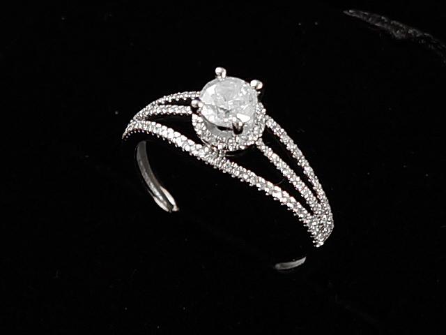 【NEW】 ダイヤモンドリング - RING - 1P粒+ ダイヤモンド リング  WG ホワイトゴールド 無垢 / ダイヤ (0.80ct) 指輪