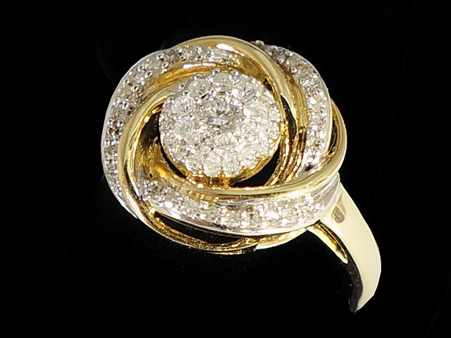 送料無料 新品 オープニング 大放出セール New Finish ダイヤモンド リング -RING- ラウンド53Pダイヤ クラスターリング K14YG ダイヤ 0.90ct 指輪 14金 イエローゴールド