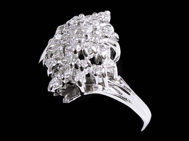 新作送料無料 New Finish ダイヤモンド リング - RING メレダイヤ K14WG 14金 クラスター ホワイトゴールド 指輪 売買 0.27ct ダイヤ