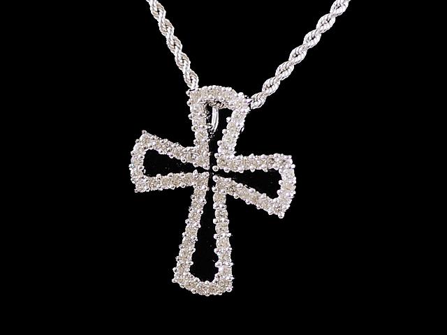 【NEW】 ペンダント - Pendant - メレダイヤ クロス ペンダント K18WG (18金 ホワイトゴールド) / ダイヤモンド(1.15ct)