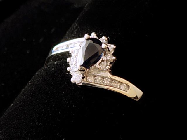 【NEW】 ブルーサファイヤ&ダイヤモンドリング - RING - センター ペアシェイプ サファイヤ 19Pダイヤモンド WG無垢ホワイトゴールド / サファイヤ (0.55ct) / ダイヤ (0.19ct)  指輪