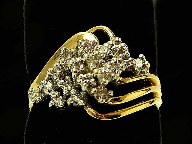 GALLERIA: Diamond ring - RING - 18P mele diamond cluster K14YG (14-karat gold yellow gold ...