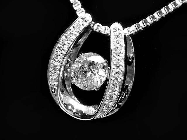 【NEW】 ネックレス - Necklace - ベルギー製 大きな1P粒ダンシング・ダイヤモンド PTプラチナ無垢 / ダイヤ (0.82ct)