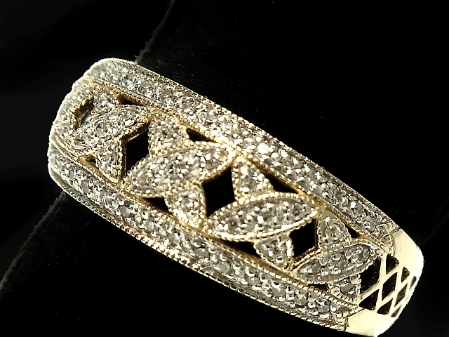 NEW 至高 ダイヤモンドリング - RING リーフ 指輪 商品 YG無垢イエローゴールド 55Pメレダイヤ 0.30ct ダイヤ
