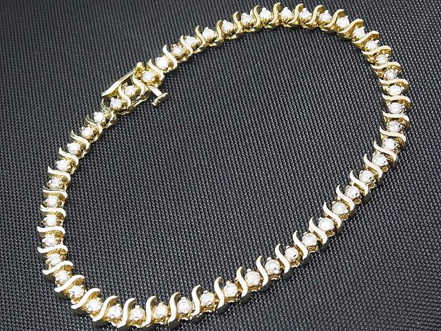 【NEW】 ダイヤモンド ブレスレット - Bracelet - 49Pダイヤ テニス ブレスレット K10YG (10金 イエローゴールド) / ダイヤ 2.50ct)
