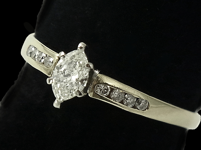 【New Finish】 ダイヤモンド リング - RING - 1粒マーキス&8Pメレダイヤ YGイエローゴールド無垢/ダイヤ(0.42ct) 指輪
