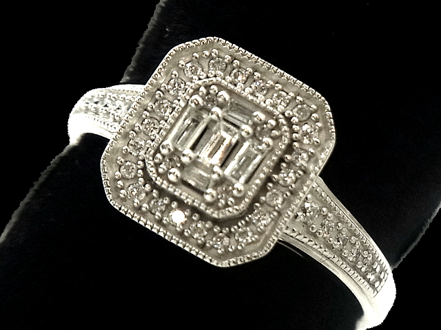 【New Finish】 ダイヤモンド リング - RING - カクテル 5Pバゲット WG 無垢 ホワイトゴールド / ダイヤモンド (0.50ct) 指輪