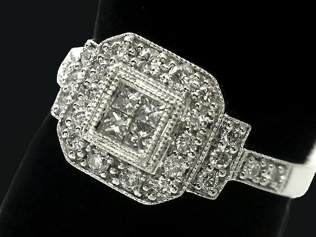 【New Finish】 ダイヤモンド リング - RING - カクテル 4Pプリンセス+24Pラウンドダイヤ WG ホワイトゴールド 無垢 / ダイヤモンド (0.72ct) 指輪