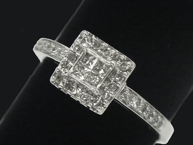 【New Finish】 ダイヤモンド リング - RING - アールデコ 4Pプリンセス+28Pラウンドダイヤ WG 無垢 ( ホワイトゴールド ) /ダイヤモンド (0.50ct) 指輪