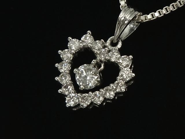 【NEW】 ペンダント - Pendant - 1粒&16Pダイヤ ダングル ハート ペンダント WG 無垢 ホワイトゴールド / ダイヤモンド (0.60ct)